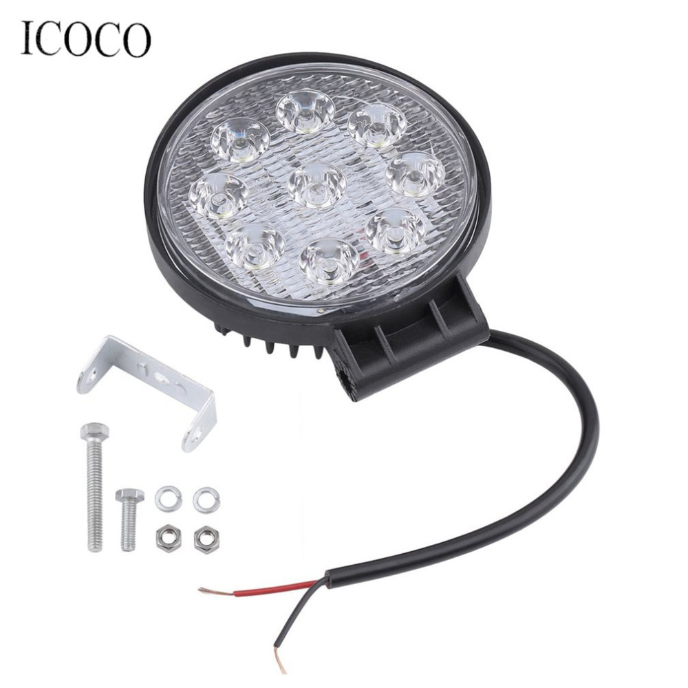 27W Flood Beam Led Bulbs Floodlight Headlight Work Light Lamp Portable Round Bar Lamp For Boat Tractor Truck Off-Road Cars