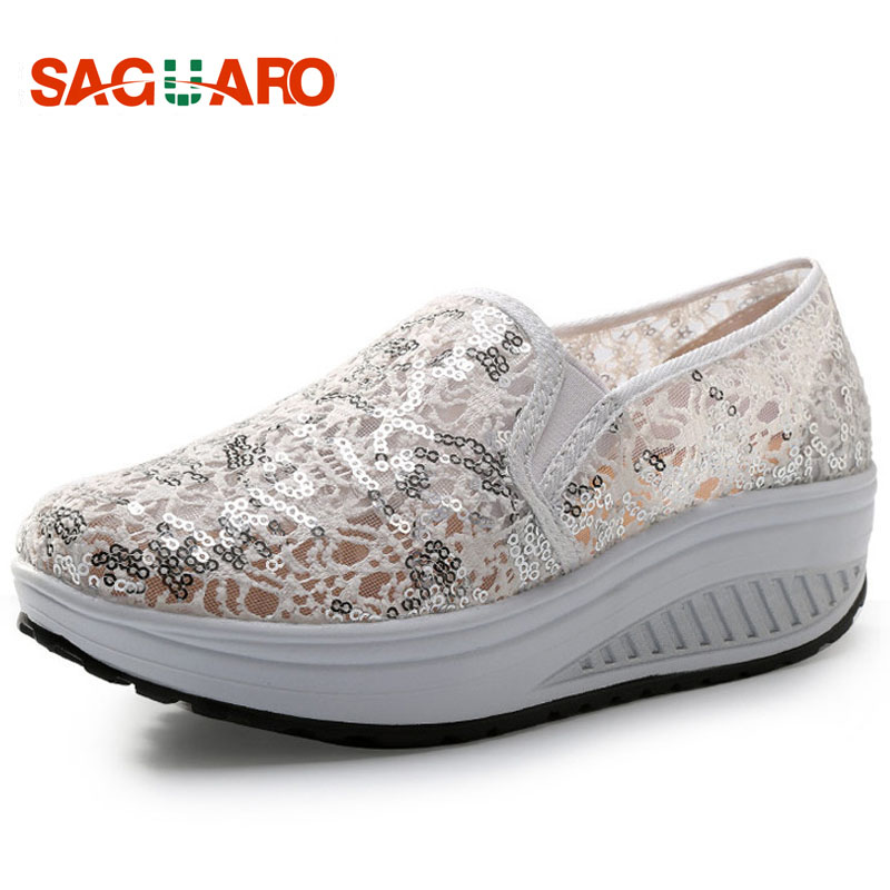 SAGUARO Summer Women Flat Platform Shoes Fashion Hollow Lace Mesh Slip On Swing Shoes Loafers Height Increasing zapatos mujer 2017 hot fashion loafers women casual shoes new breathable mesh flat platform women comfortable wedges heels shoes zapatos mujer