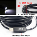 HD 5.5mm Dia USB Endoscope Cmos 10m Long Cable Waterproof 6led Borescope Endoscope Inspection  Tube Visual Camera Pipe Video