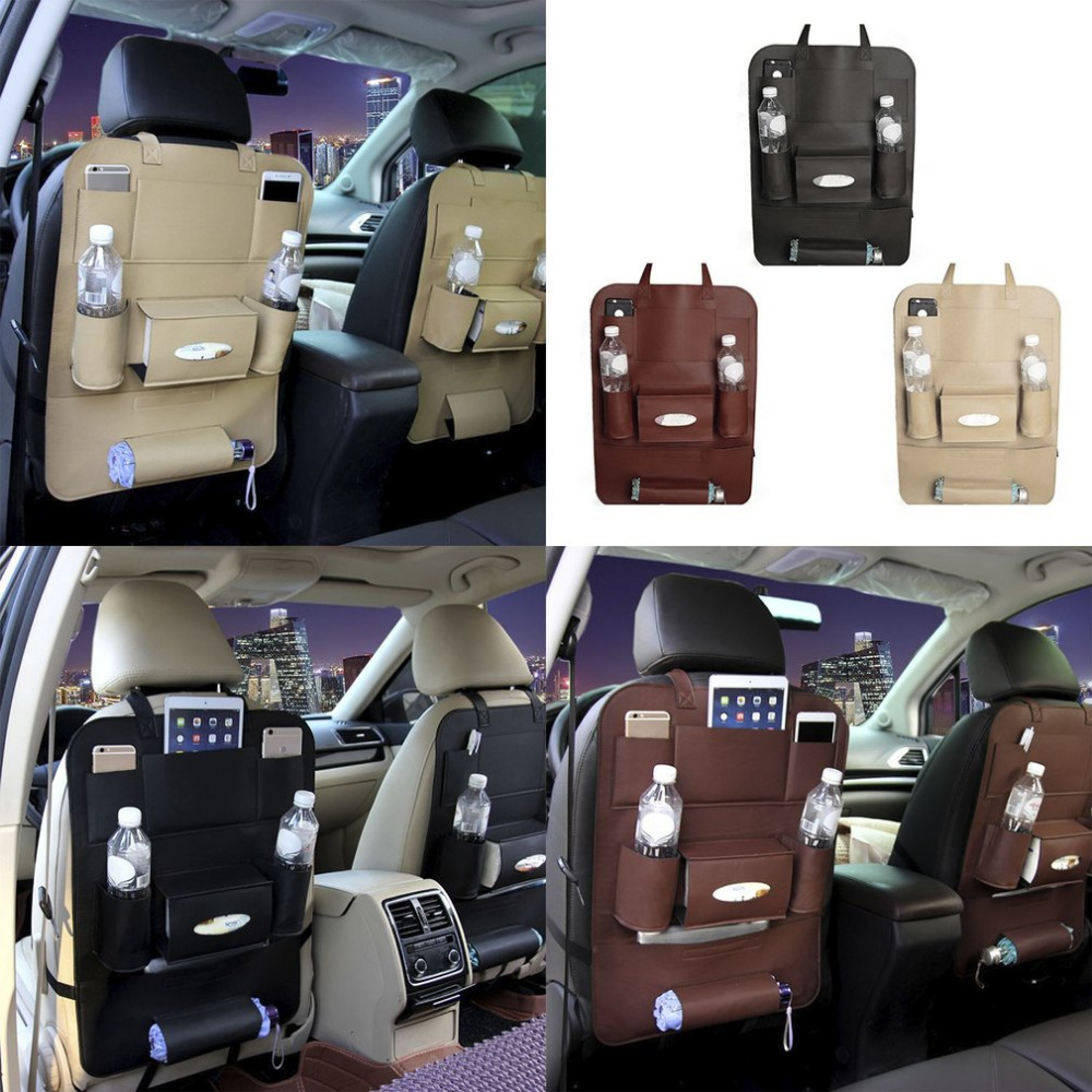 New Multifunctional Leather Car Seat Back Tidy Vehicle Organizer Bag Travel Kid Storage Bag Cup Paper Extraction Holder ...