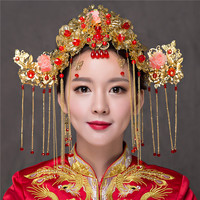 Classical Chinese Elegant Bride Handmade Costume Gold Plated Bridal Headwear Accessories Hair Combs Wedding Hair Sticks