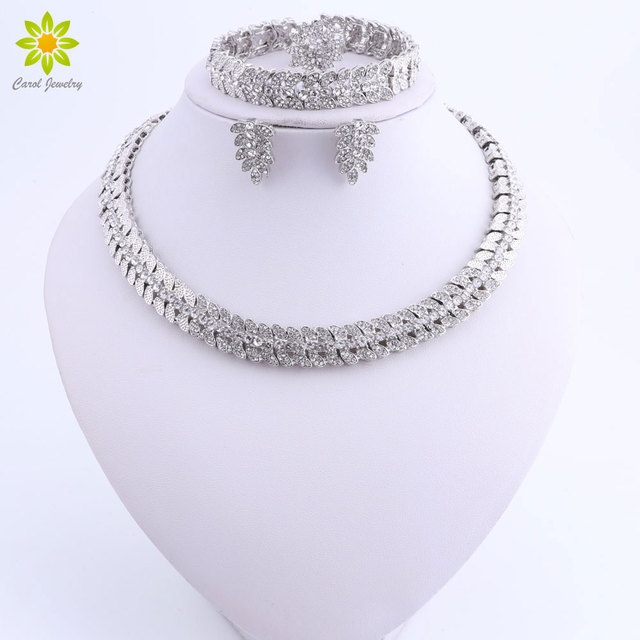 5658c546e83f African Jewelry Sets For Women Dubai Silver Plated Necklace Earrings Set  Jewellery Bridal Nigerian Wedding Costume