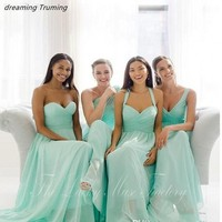 Westren Country Style Teal Mint Green Bridesmaid Dresses Summer Beach Wedding Party Gowns Plus Size robe demoiselle d'honneur
