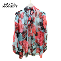 2018 CAVME Floral Bow Full Sleeve Pure Silk Shirt SML for Women Lady
