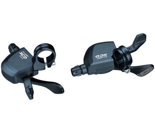Microshift XCD Thumb-tap Shifter, 3 x 10 Speed for shimano wholesale microshift ts83 8 9 10 road bike bicycle shifters lever thumb tap shifter for shimano road flat handlebar 8 9 10 speed