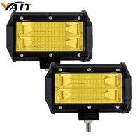 Yait 2pcs 5 Inch 72W LED Work Light Bar Spot Light 12V 24V Car Truck SUV