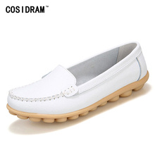 COSIDRAM New 2017 Women Flats Genuine Leather Women Shoes Ladies Moccasins Female Loafers Soft Mother Footwear BSN-601