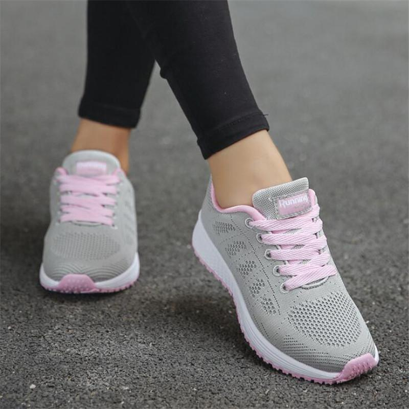 Female Tennis Sneakers Women Shoes 2019 New Elegant Breathable Mesh Casual Shoes Woman Lace-up Women Running White Shoes