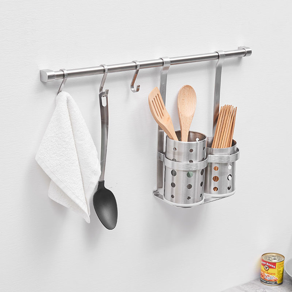 304 stainless steel kitchen rack wall hanging chopsticks tube hook with hanging rod storage rack S hook drawing cup wx7241500 car backseat stainless steel handy hanging hook silver 2pcs