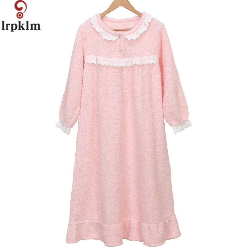 Winter Bathrobes Flannel Dressing Gowns For Women Thick Longer ...