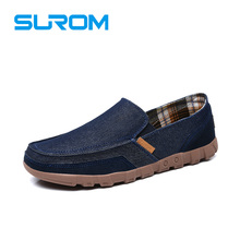 SUROM Four Season Canvas Cow Suede Splicing Upper Men s Casual Shoes Loafers for Men