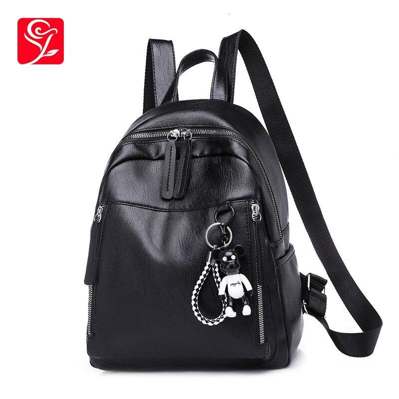Noir doux Pu cuir femmes sac à dos femme sacs d'école pour fille adolescents solide sac à dos coréen mode ours pendentif
