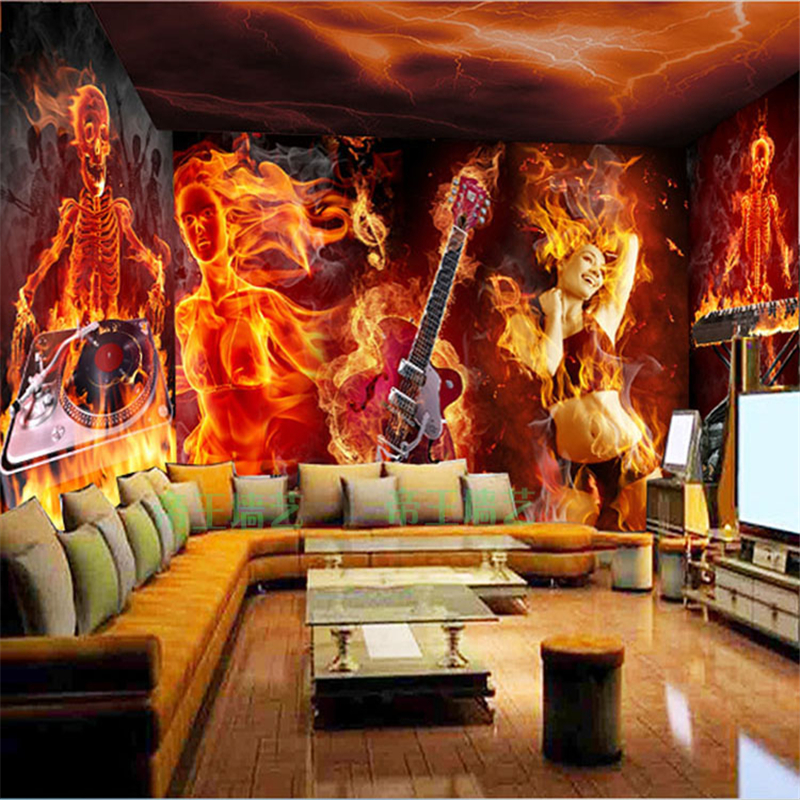 beibehang papel de parede Custom 3D KTV Skeleton Large Mural Wallpaper Laser Reflective Guitar Music Bar Theme Wallpaper
