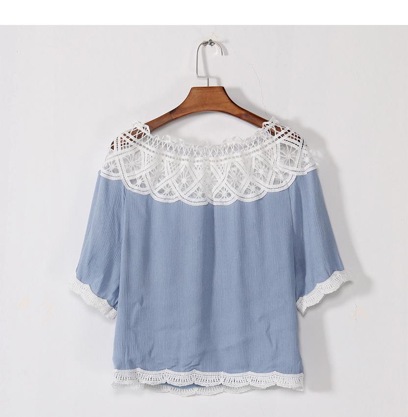 Off Shoulder Sexy Women Blouses White Lace Patchwork 2017 Summer New Arrival Slash Neck Ladies Chiffon Shirts Plus Size Tops 2XL 8