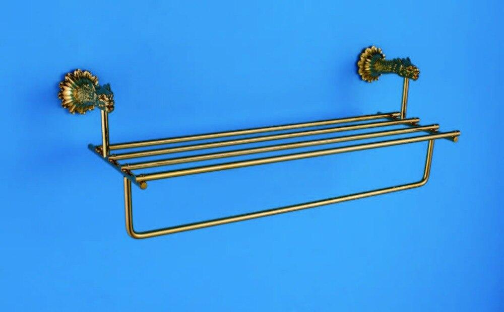 FREE SHIPPING DRAGON  design 24k GOLD DOUBLE BATHTOWEL SHELF TOWEL RACK free ship gold clour bathroom crystal bathtowel racks bathtowel shelf towel holder