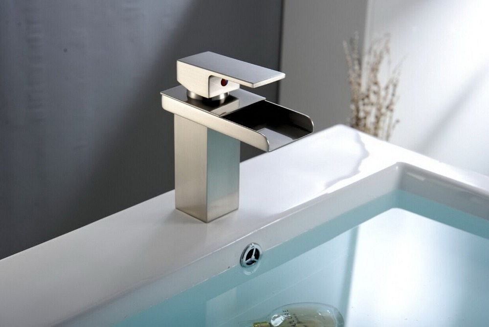 Vidric Nickel Brushed faucets hot and cold water basin mixer taps bathroom waterfall deck mounted faucet single handle faucetsVidric Nickel Brushed faucets hot and cold water basin mixer taps bathroom waterfall deck mounted faucet single handle faucets
