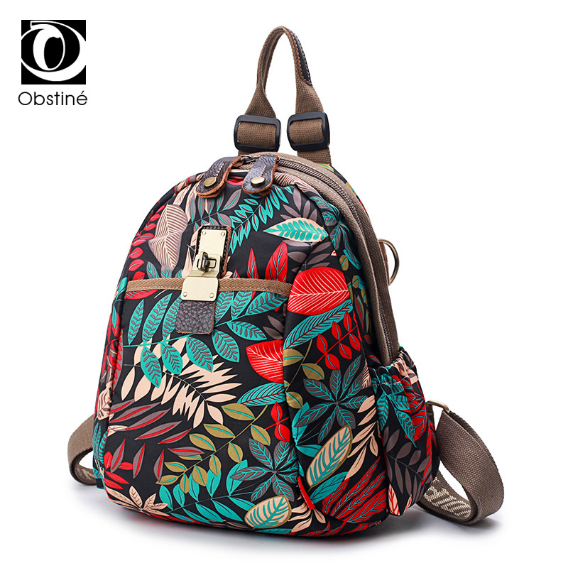 Oxford Waterproof Backpack for Women Floral Printing Backpacks for Girls Multifunctional Shoulder Bags Schoolbag Student Bagpack stylish floral off the shoulder blouse for women