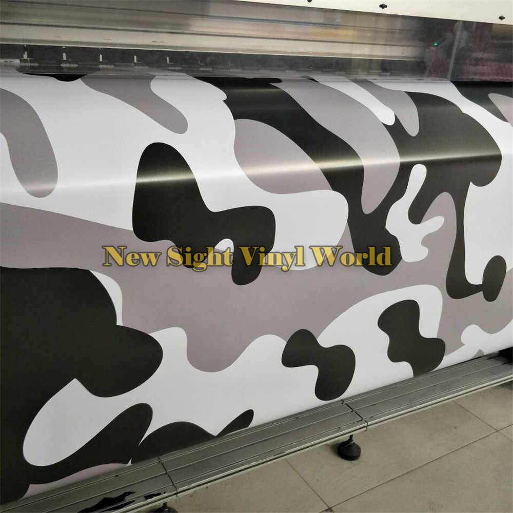 Snow camo vinyl wrap film sheet black white grey camouflage sticker bomb vinyl for vehicles wraps