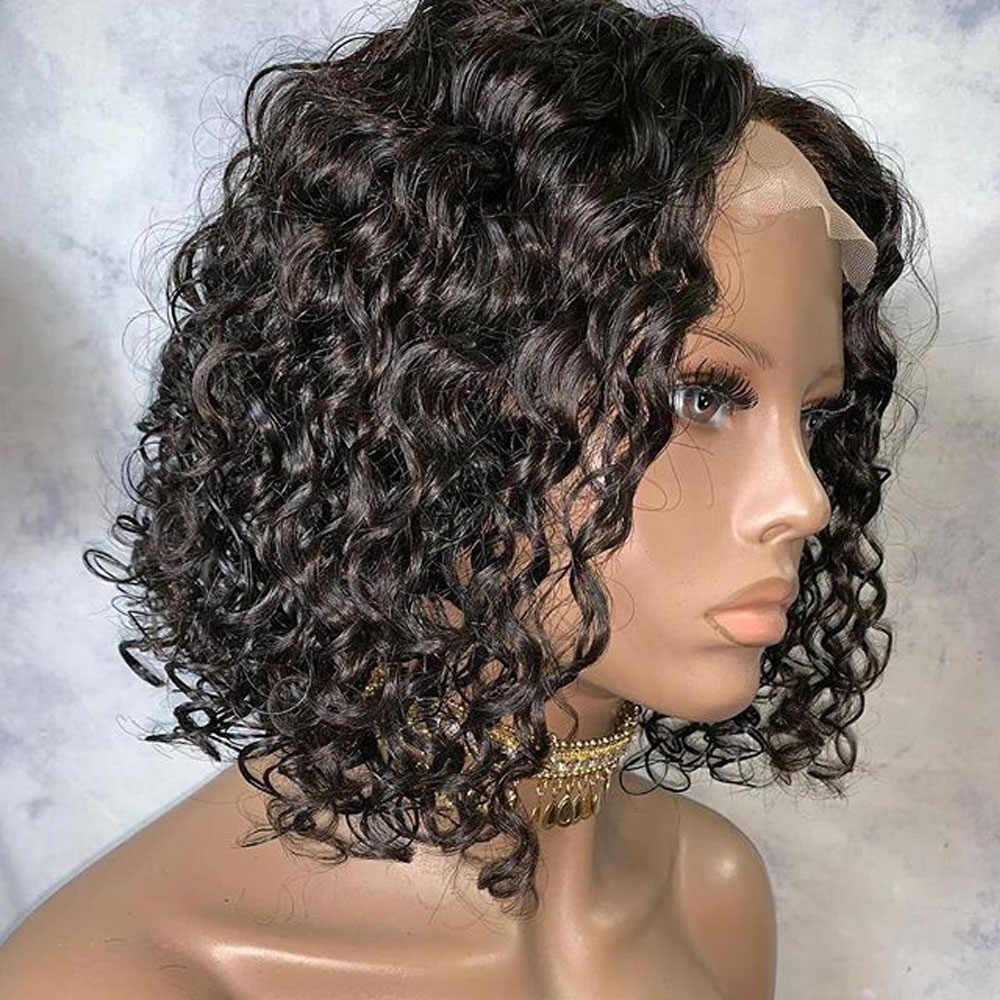 Кудрявый парик с кружевами спереди, влажные и волнистые человеческие волосы, волна воды, парик с коротким Бобом, глубокая волна, предварительно сорванный парик с кружевом для женщин, черный Remy