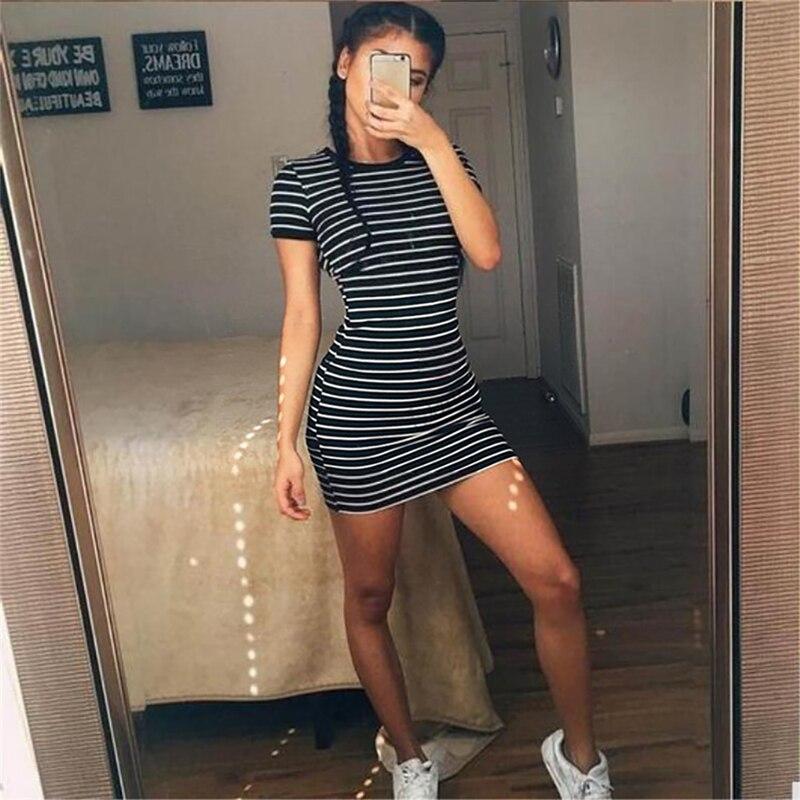 HTB1JavbQ4TpK1RjSZFMq6zG VXaV Summer Casual Striped O-neck Short-sleeved Dress Black And White Striped Dresses Casual Elegant Sheath Slim Dress