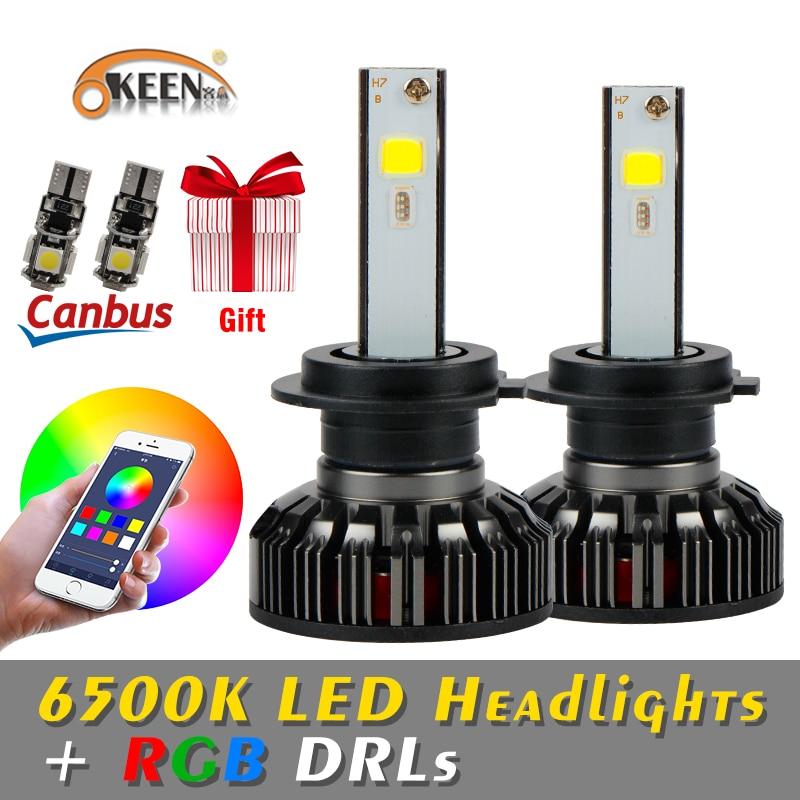 OKEEN H4 LED Ampoules RGB LED phare H7 APP Bluetooth Contrôle H1 H3 H8 H11 HB3 HB4 Voiture LED Lumière projecteur muticolor LED ampoules