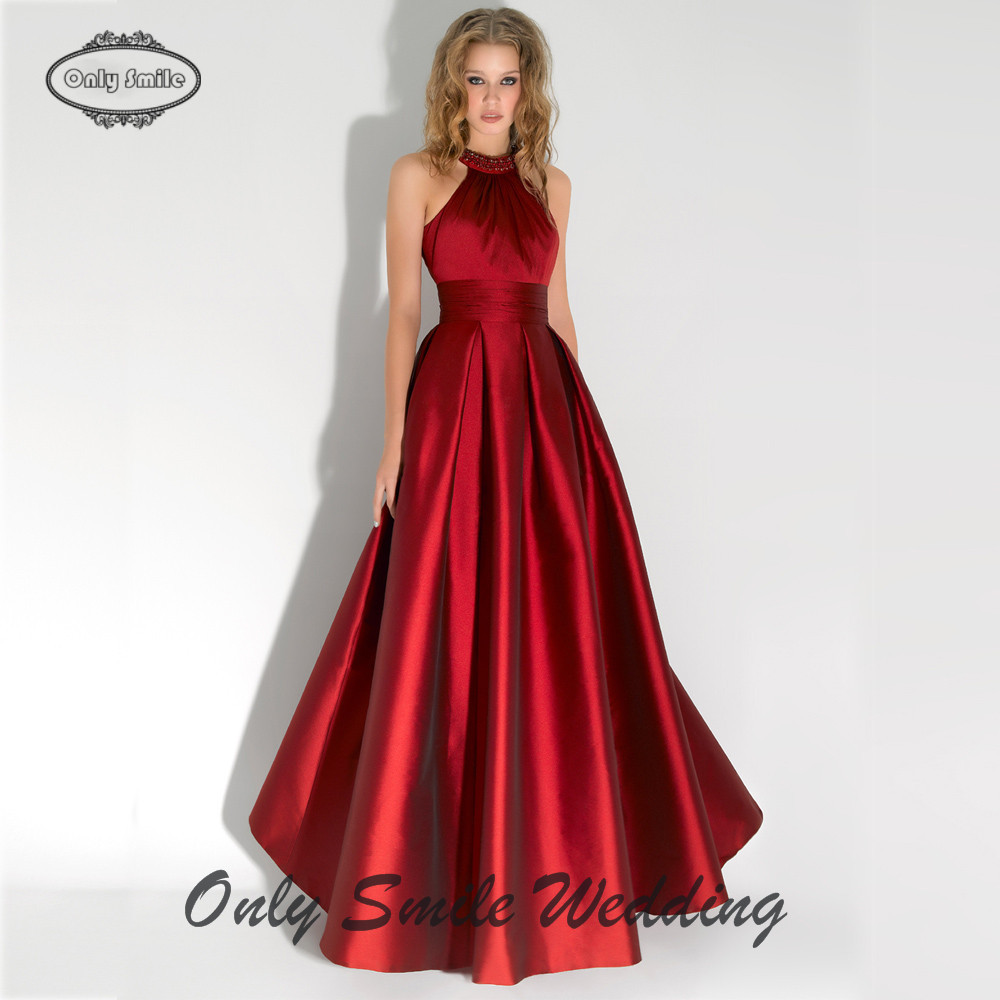 39853e4a36 ZJ3304 Sexy halter neckline silk satin skirt a line bare back long robe  soiree 2015 red evening dresses long-in Evening Dresses from Weddings &  Events on ...
