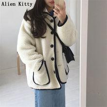 Alien Kitty Autumn Winter Fashion Casual Loose Casual Women Jacket Coat Outerwear Ladies Cardigan Fr