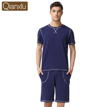 Qianxiu пижамы для мужчин лето Большой размер пижамы мужчины с коротким рукавом брюки пижамы установить