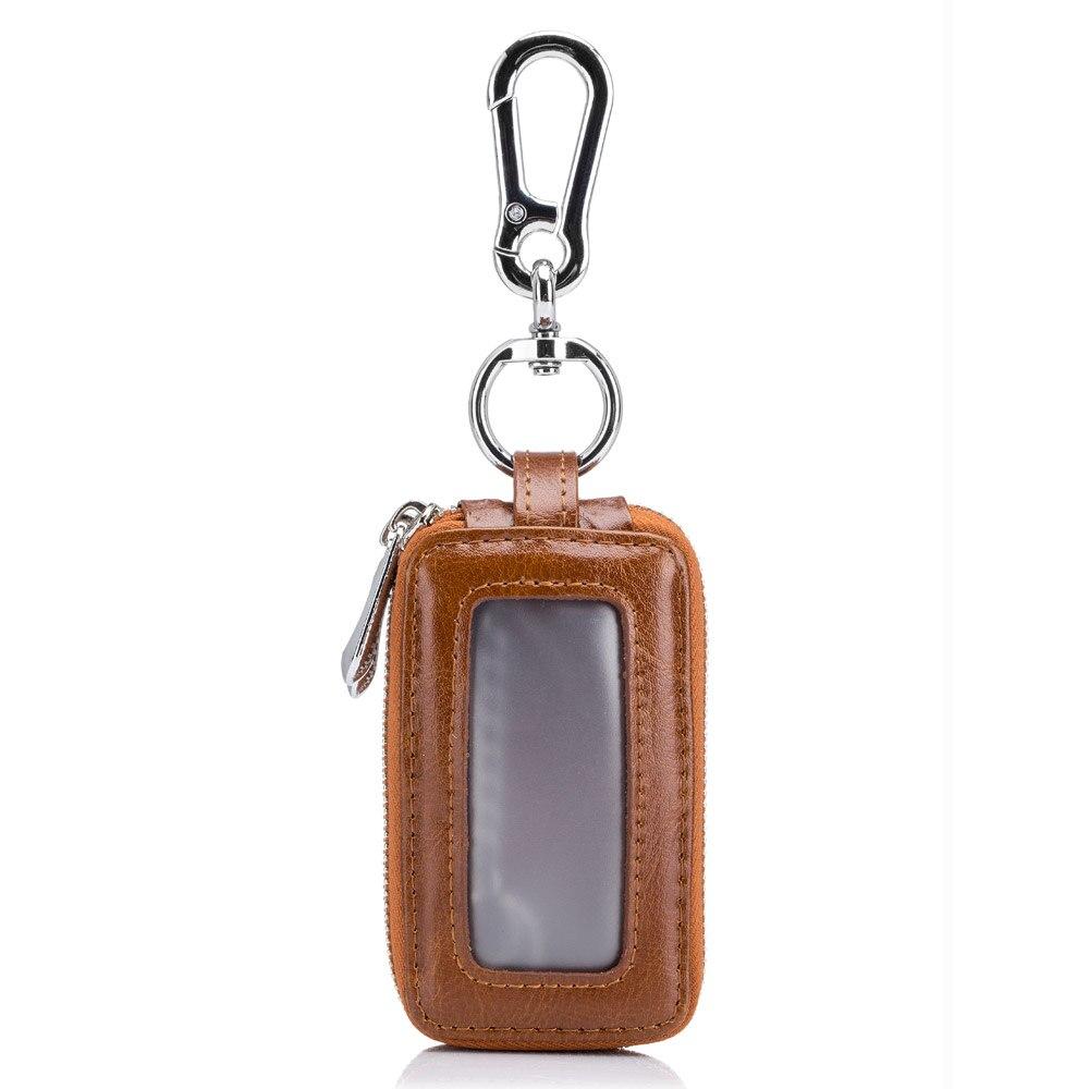 Lecxci Leather Belt Men's Keychain Stewards Multifunction Double Zip Square Home Keys Women's Key Purse