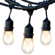 52FT светодиодный наружный струнный светильник Edison ЛАМПЫ водонепроницаемый праздничный светильник Декоративная гирлянда для Рождественский светильник для освещения сада струна