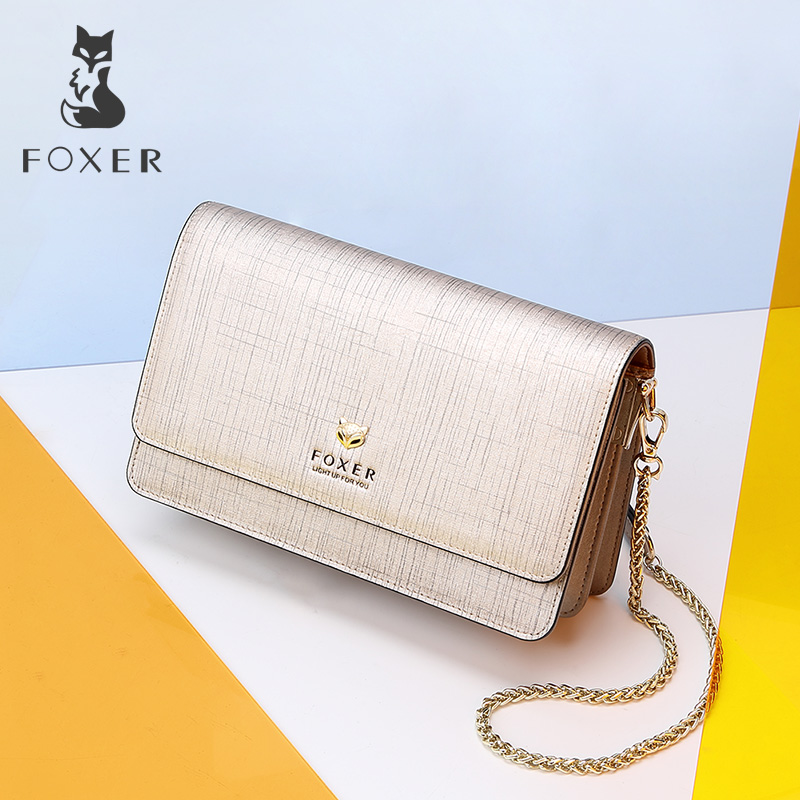 FOXER Brand Fashion Women Bag Split Leather Female Stylish Small Flap Shoulder Bag Lady Chic Messenger