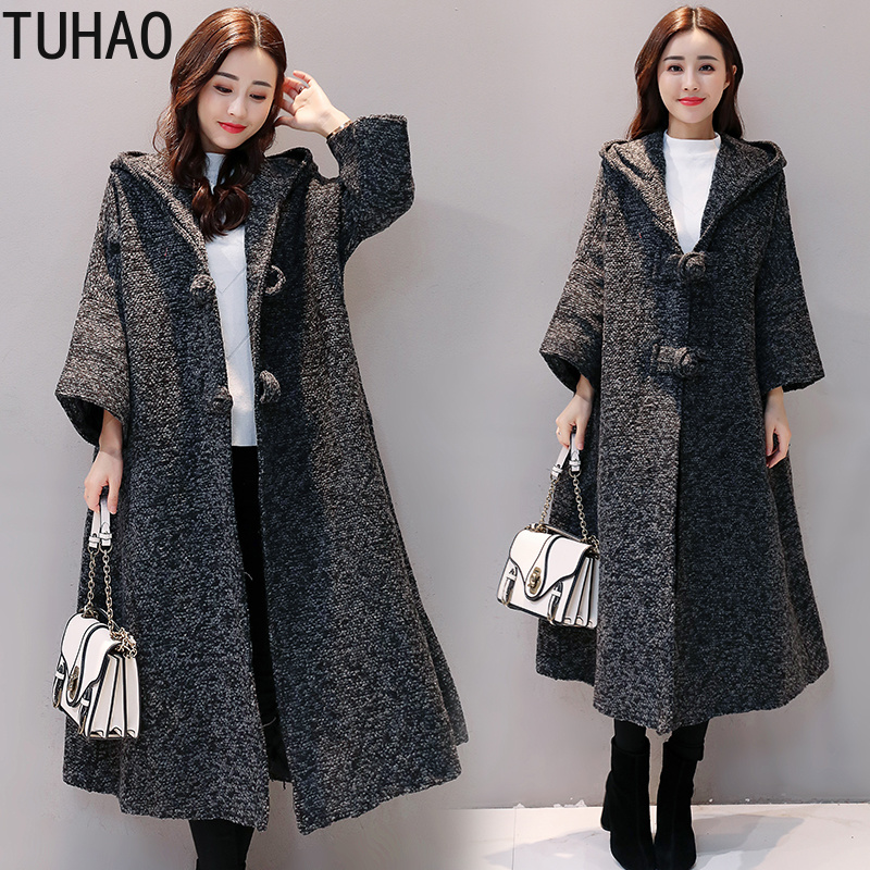 TUHAO Female Clothing 2018 Autumn Winter Long   Trench   Coats for Women's Clothing Vintage Fashion Clothing Womens   Trench   Coat JA80