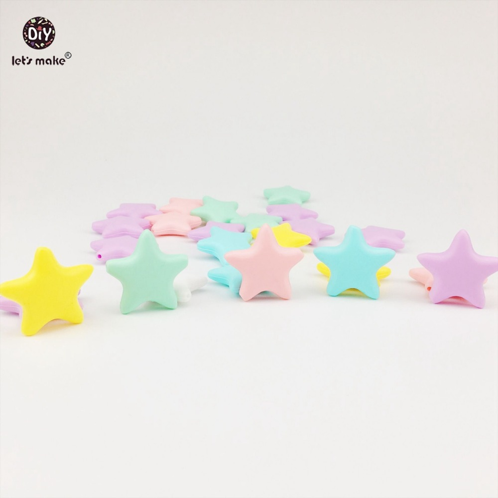 Let's Make Silicone Star 50pcs Candy Color Diy Teething Necklace Accessories Can Chew Bracelet Beads Food Grade Silicone Teether