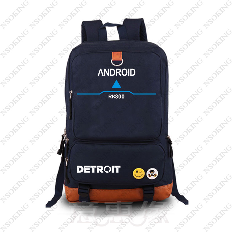 Game Detroit: Become Human cosplay Backpack Canvas Student blue Schoolbag unisex Travel Bags