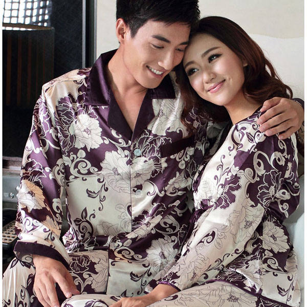 2019 Spring and autumn male men women's lovers silk sleepwear men's long sleeve pajamas twinset lounge wear
