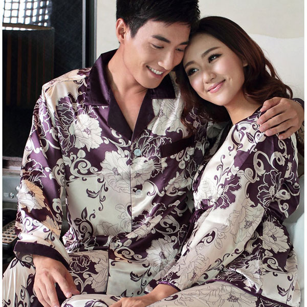 2019 Spring and autumn male men women's lovers silk sleepwear men's long sleeve pajamas twinset lounge wear