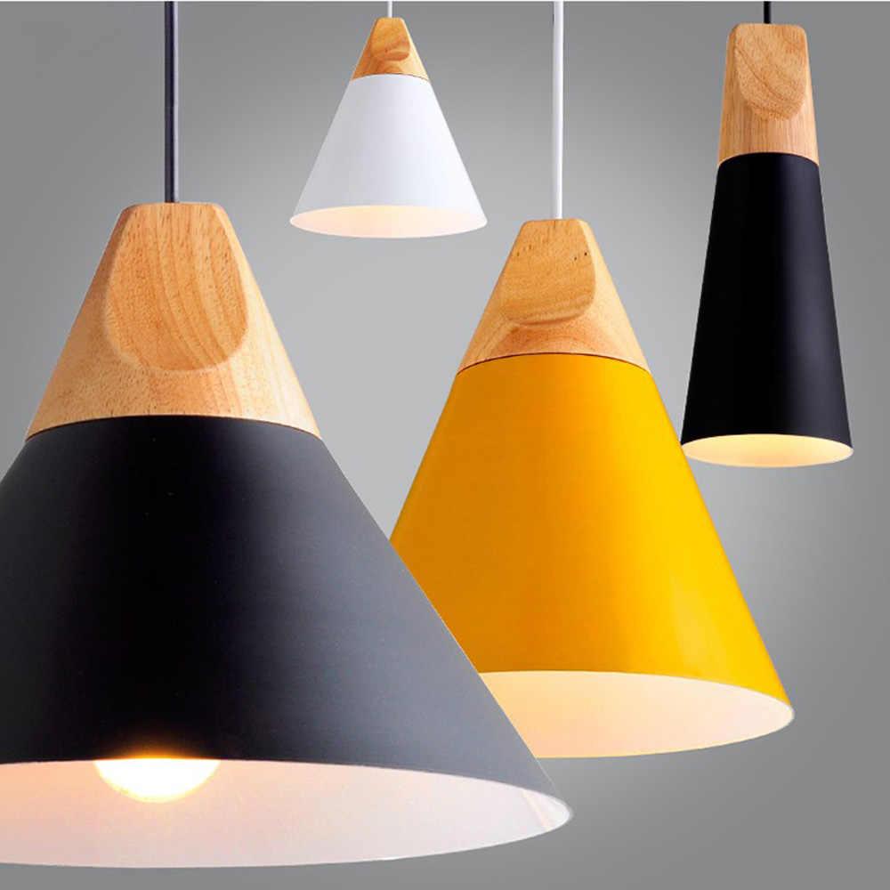 Kayu yang modern Liontin Lampu Luminaria Lamparas Colorful Aluminium Kap Lampu Rusia Samping Tempat Tidur Liontin Lampu Ruang Makan Lampu Pengkilap