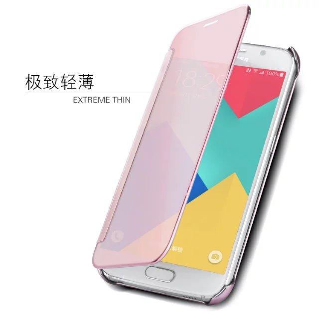 For Samsung Galaxy 2017 A3 A5 A7 A320 A520 A720 / 2016 A8 C9 Pro Leather + Hard Plastic Flip Plating Mirror Case Slim Phone Cove