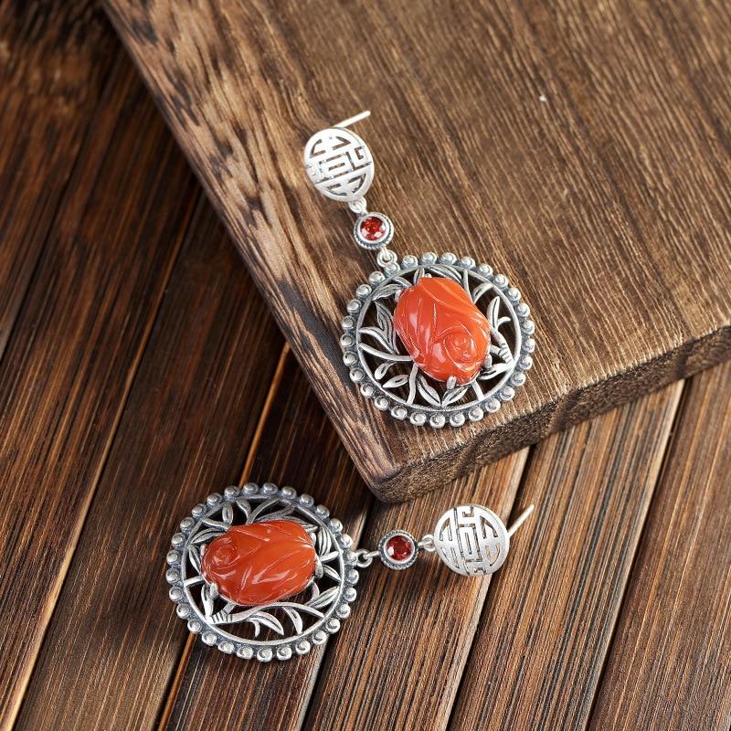 S925 argent intégré sud rouge Agate vintage ethnique boucles d'oreilles livraison gratuite