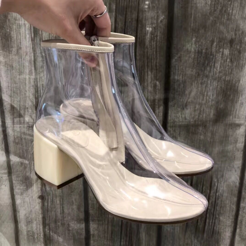 2019 New Sexy Boots Women's Transparent Cool Boots PVC Boots Fashion Side Zipper High Heels