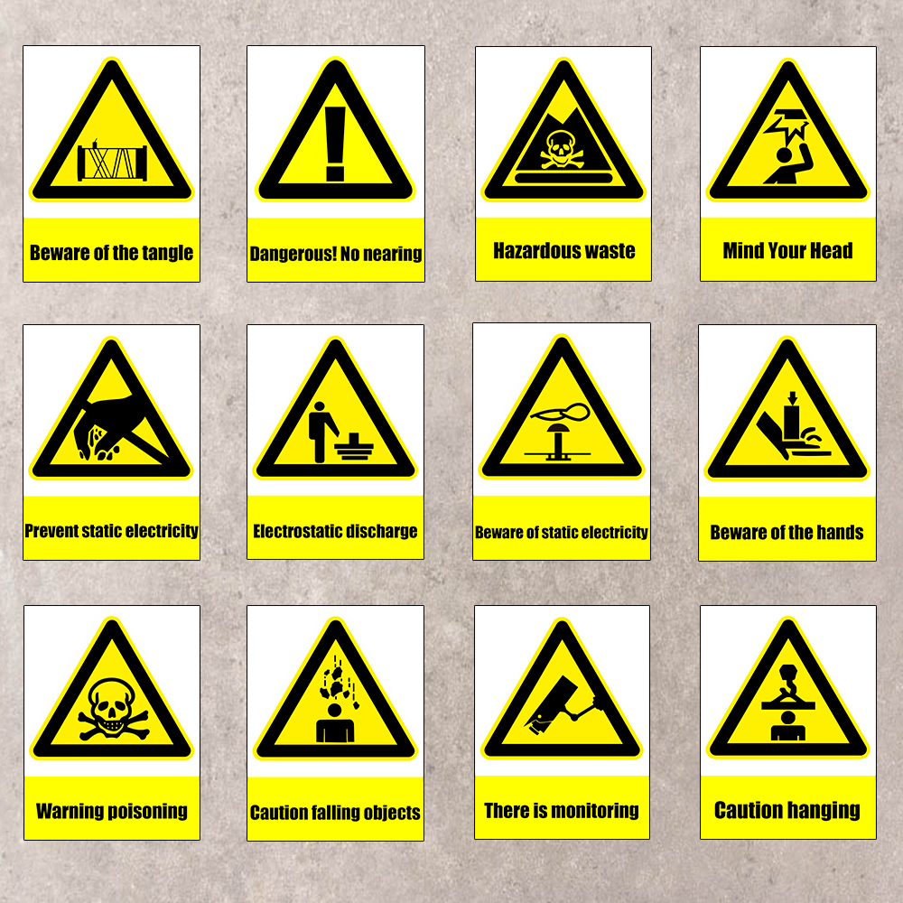 Warning Safety Sign Stickers Mind Your Head Painting Item Sign Wall ...