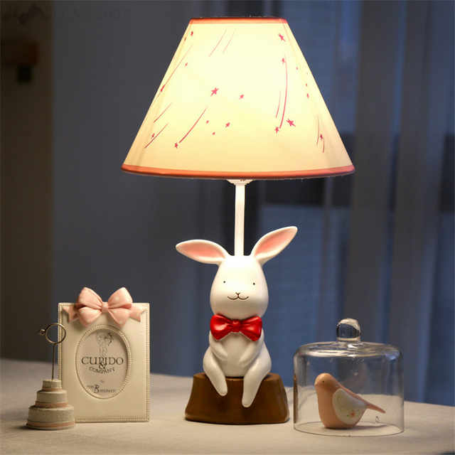 Jw Modern Creative Cute Warm White Rabbit Table Lamps Lights For Bedroom Bedside Children S Room Cartoon Dorm Decorative Lamp
