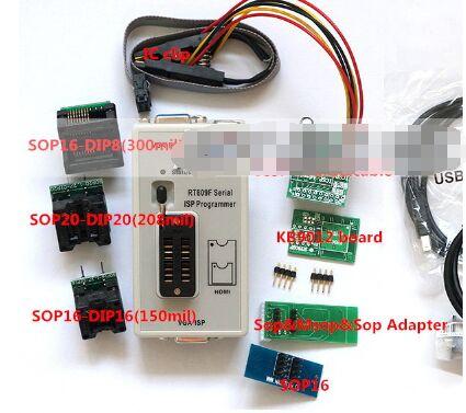 RT809F programmeur + 7 adaptateurs + SOP16 SOP20 IC Clip carte mère lecteur LCD BIOS fai/USB/VGA w/Engilsh Softerware