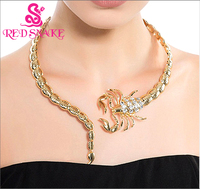 RED SNAKE High Quality Charming Amazing Gold color Scorpion Necklace Torques