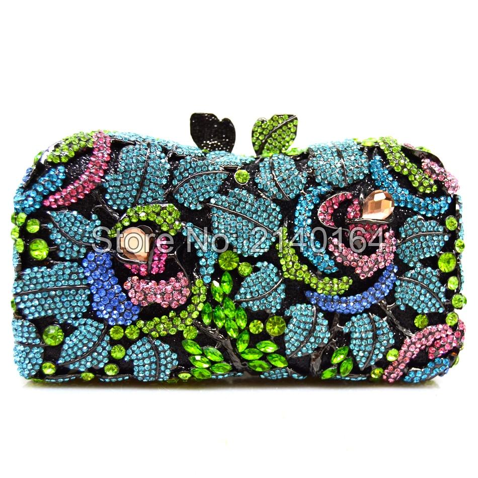 Wedding Clutch Bag Beautiful Multi-Color Handmade Hard Case Ladies Crystal Rose Flower Shape Evening Clutch Bag 88250
