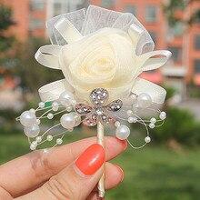 Nueva llegada Vintage broche novio Boutonniere lazo perlas novia broches ropa bufanda decoración boda suministro