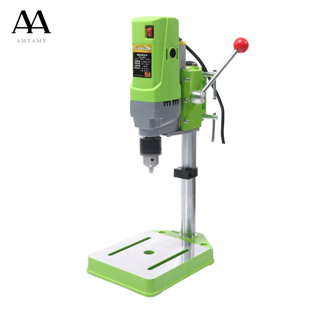 AMYAMY Mini machine De Forage Perceuse Banc Petit Perceuse électrique Machine Travail Banc engrenage 220 v 710 w UE plug 5156E