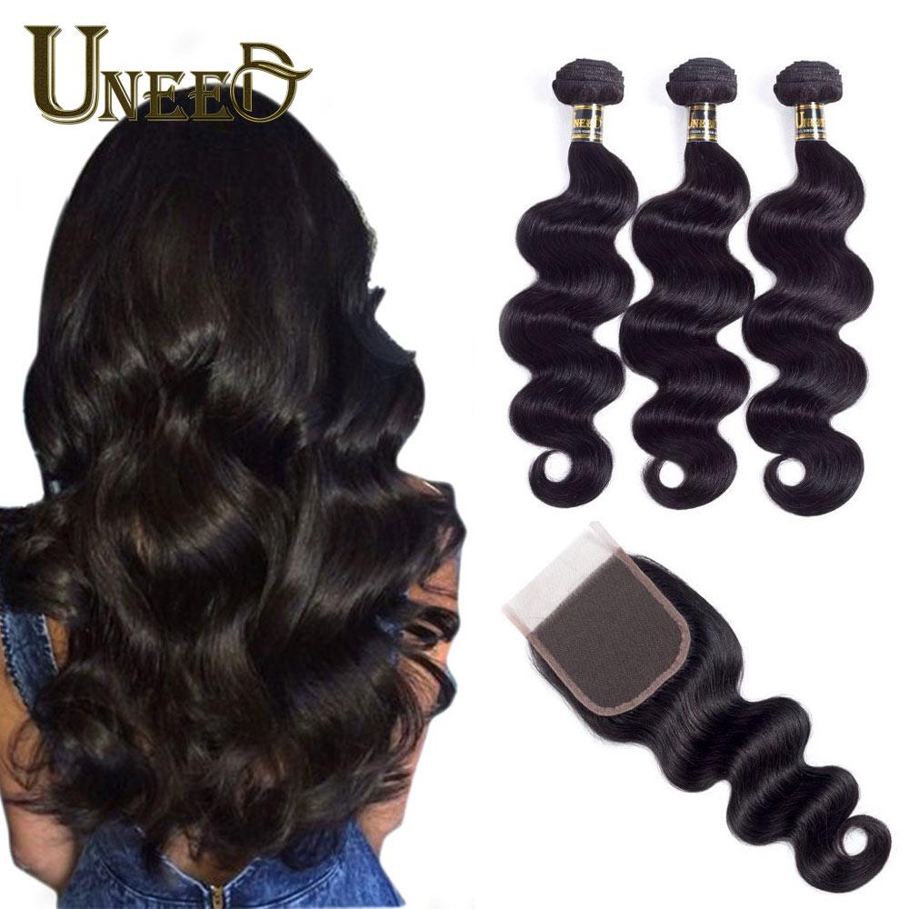 Uneed Remy Human Hair Bundles With Closure 3/4 Bundles Brazil Body - Rambut manusia (untuk hitam)