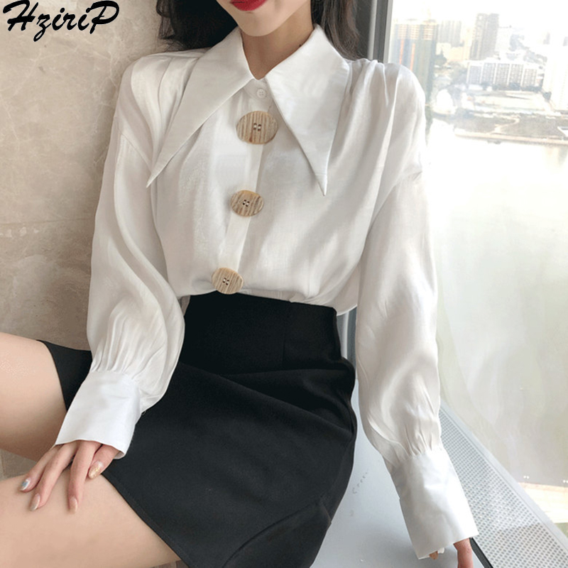 Hzirip 2019 Spring Summer Fashion Casual Long Sleeves High Quality Solid Loose OL Fresh White Blouse All-Match Slim Free Shirts