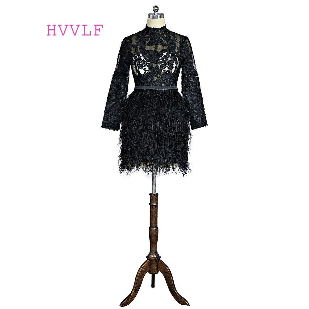 Black 2019 Elegant Cocktail Dresses Sheath High Collar Long Sleeves Short Mini Feather Lace Homecoming Dresses